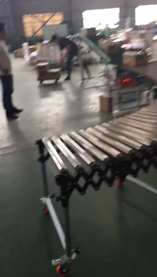 curved expandable stretchable gravity flexible carrier roller conveyor for industry Warehouse