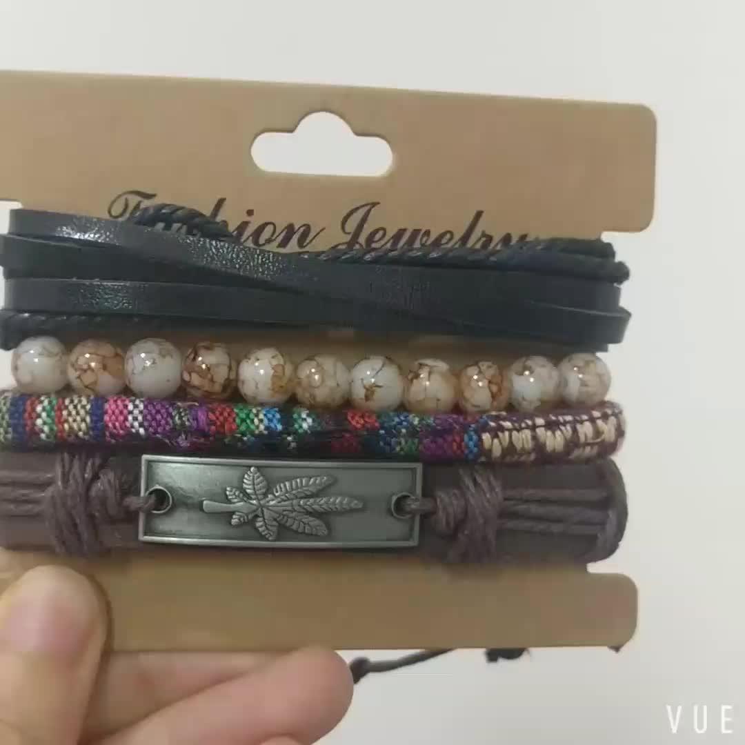 Bohemia Style Pure Handmade Leather Bracelets Maple Engraved Ethnic Wrap Bracelets