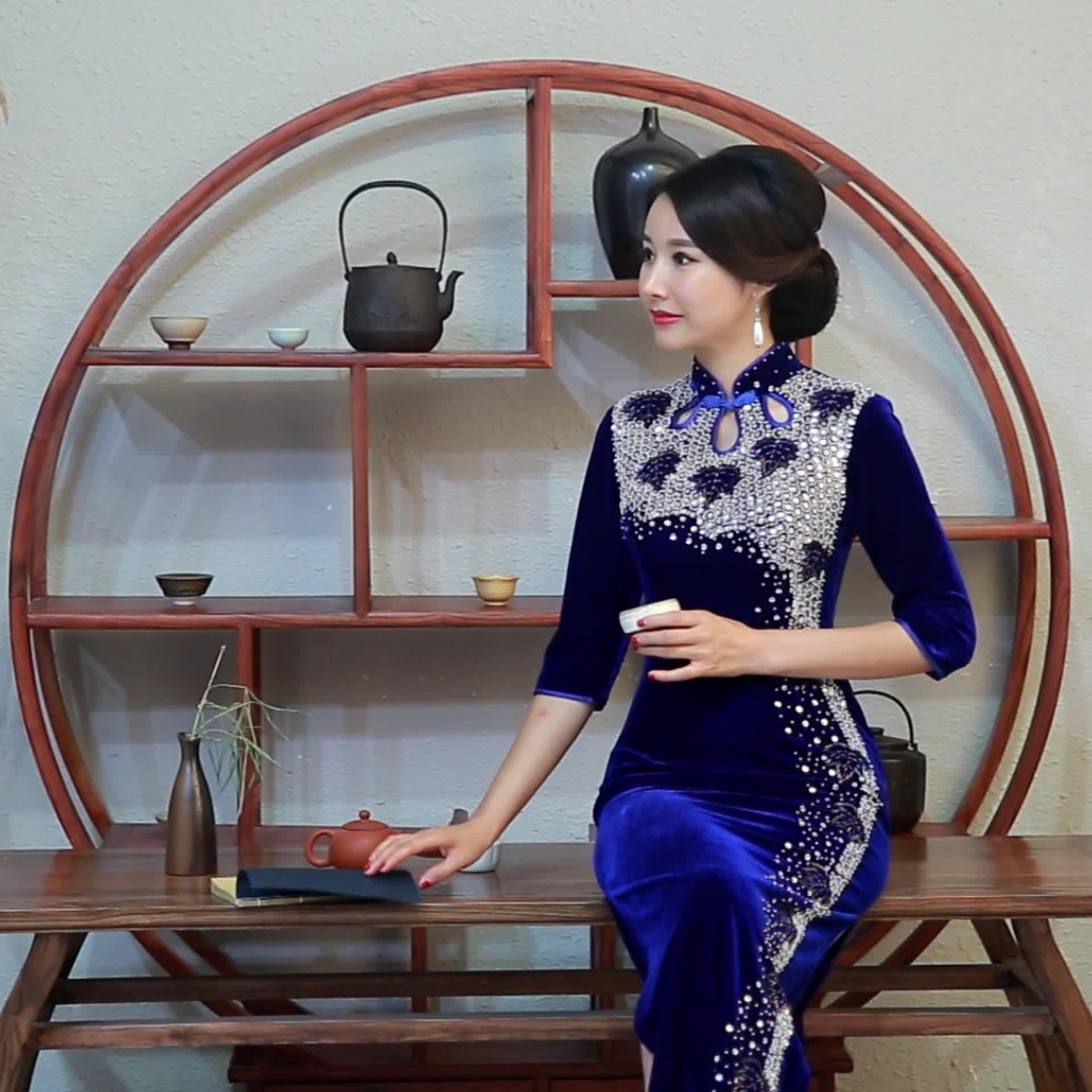 2018秋新款手工珠旗袍时尚演出长旗袍复古舞台丝绒长款旗袍裙直销
