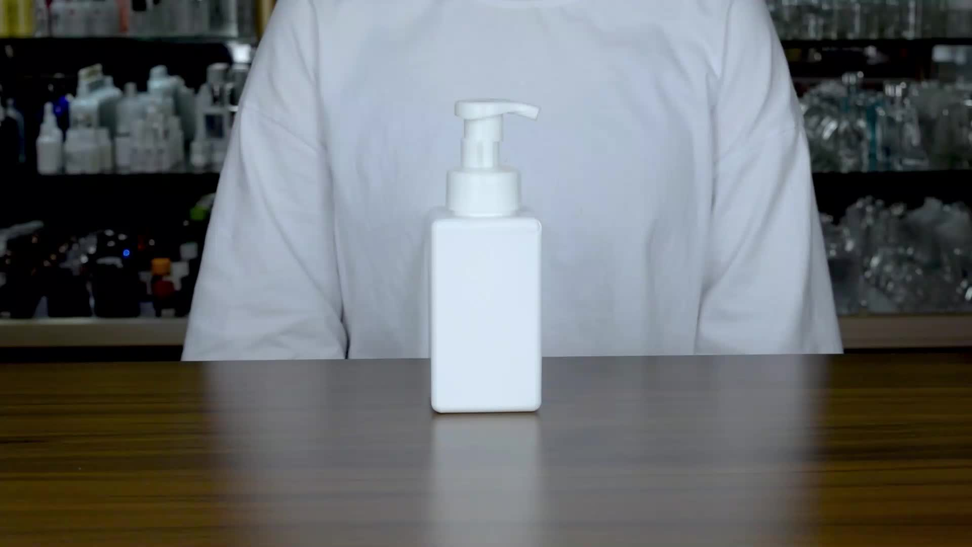 New products 250ml clear square and short pet bottle with pp lotion pump for liquid soap shampoo wholesale