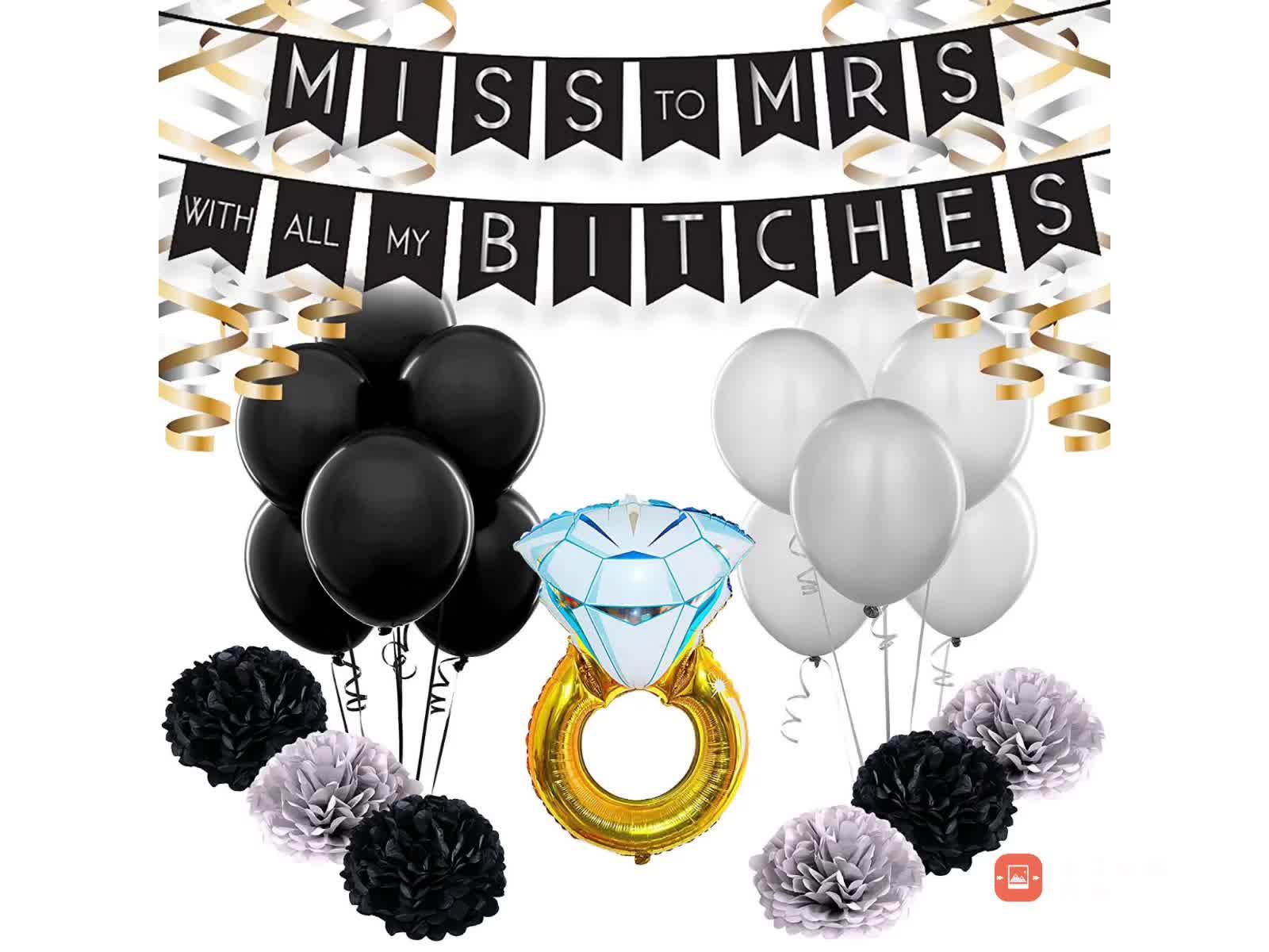 Девичник украшения набор помолвка свадебный душ принадлежности комплект Miss to Mrs баннер завитки бумага Pom Poms черное золото