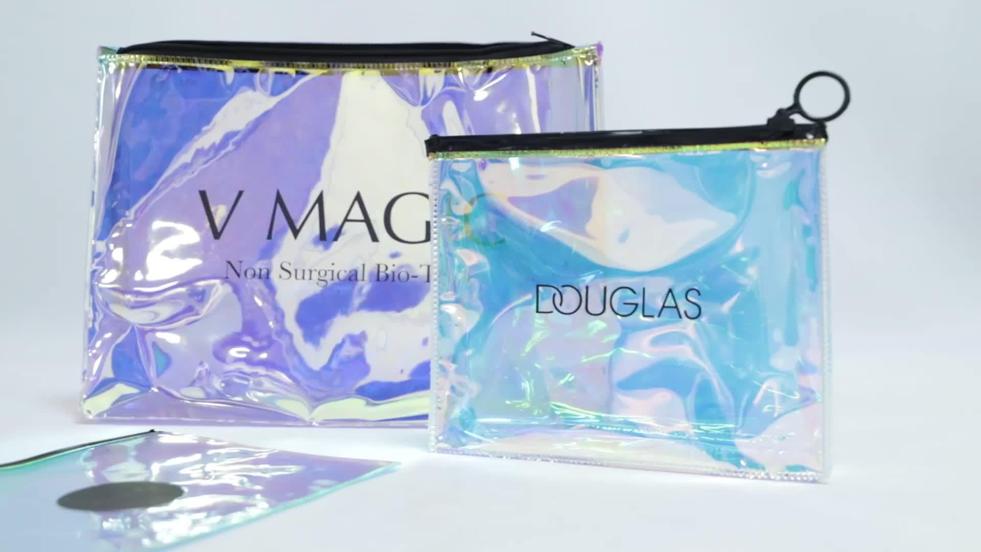 カスタム女性のレーザーホログラム Pvc プラスチック化粧品ジッパー袋透明ホログラフィックメイクジップロックバッグトイレタリーバッグ