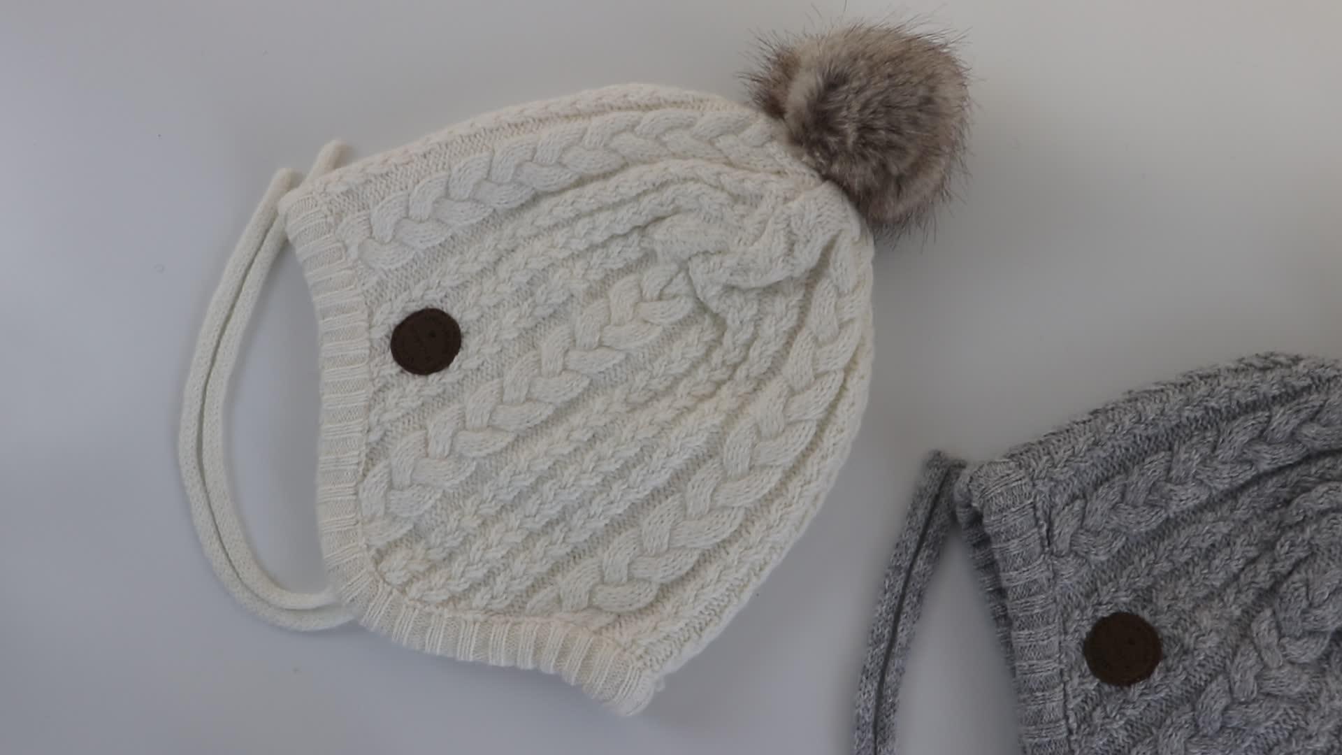 6 colori per bambini di inverno lavorato a maglia della protezione del bambino della sfera della pelliccia protezione dell'orecchio cappelli lavorati a maglia con palla sulla parte superiore