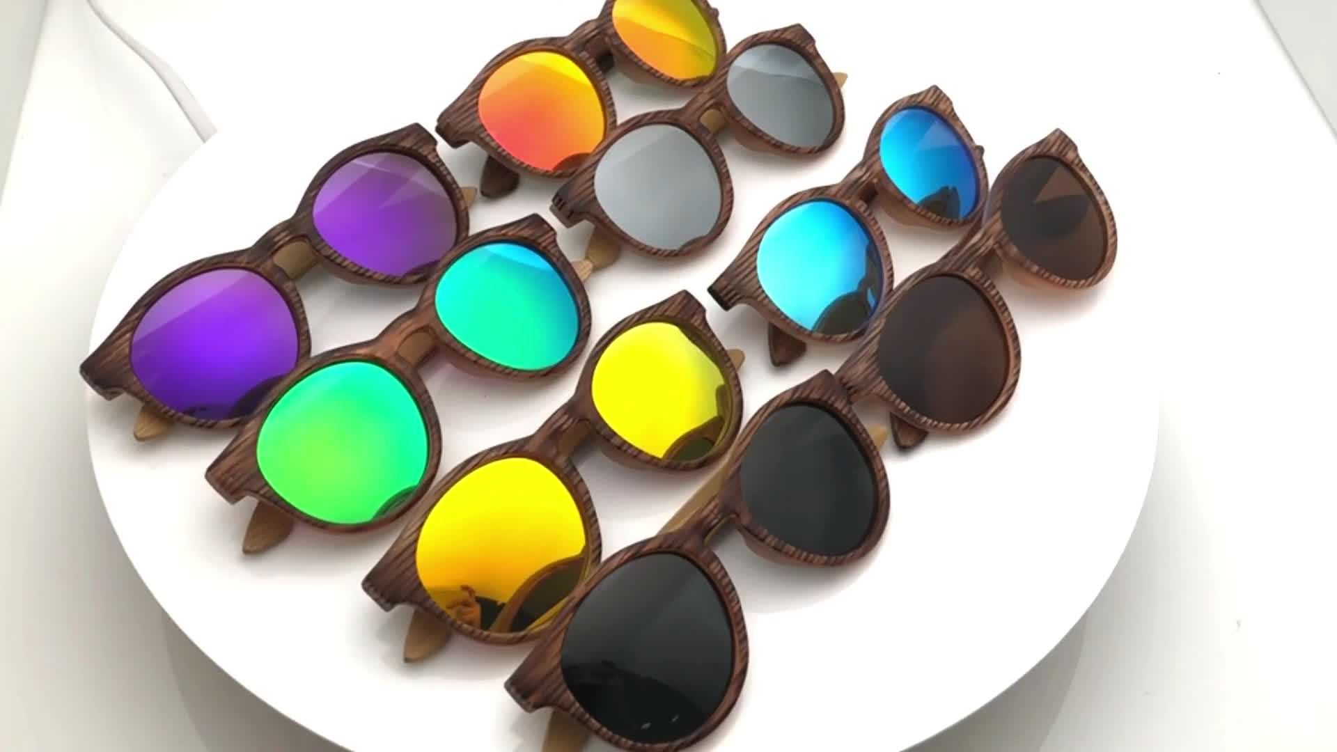 Fashion Custom Round Bamboo Sunglasses Mirror lens for Men