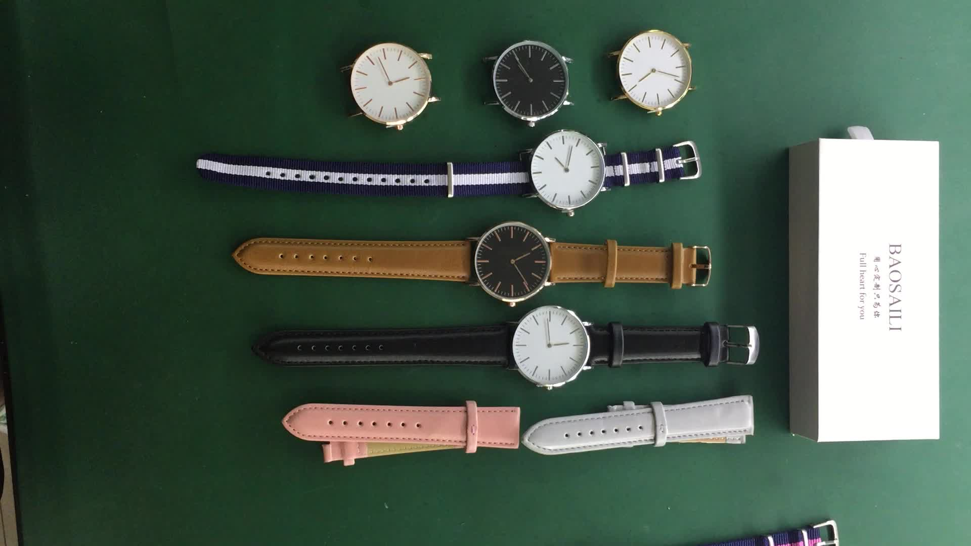 Strip Strap Minimalist Women Watch with interchangeable Bands Custom Watches MOQ 50 Nylon and Leather Strap Watch