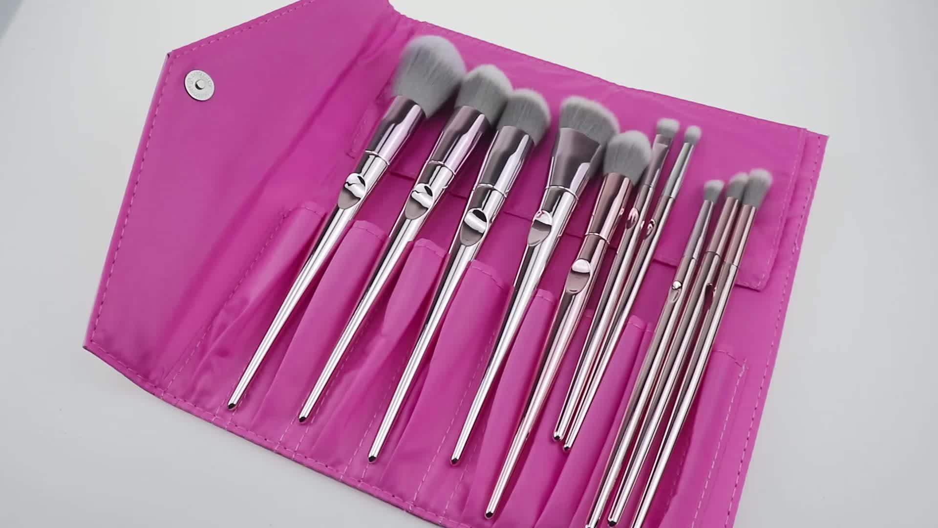 Atacado Professional 10 pcs Rose Ouro em Placas de Plástico Alça Meninas Diário de Blush Make Up Brushes Makeup Brush Set Com Caso