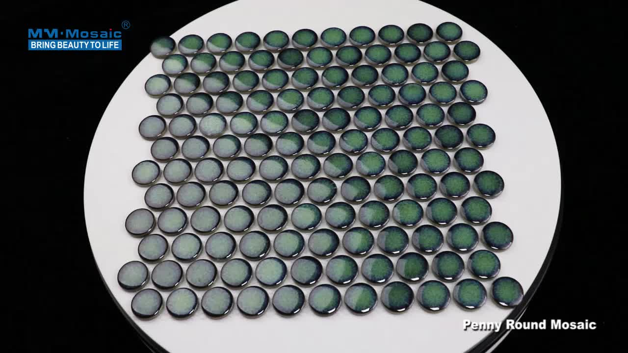 European antique 28mm glossy glazed kitchen bathroom backsplash wall floor green circle penny round ceramic mosaic tiles