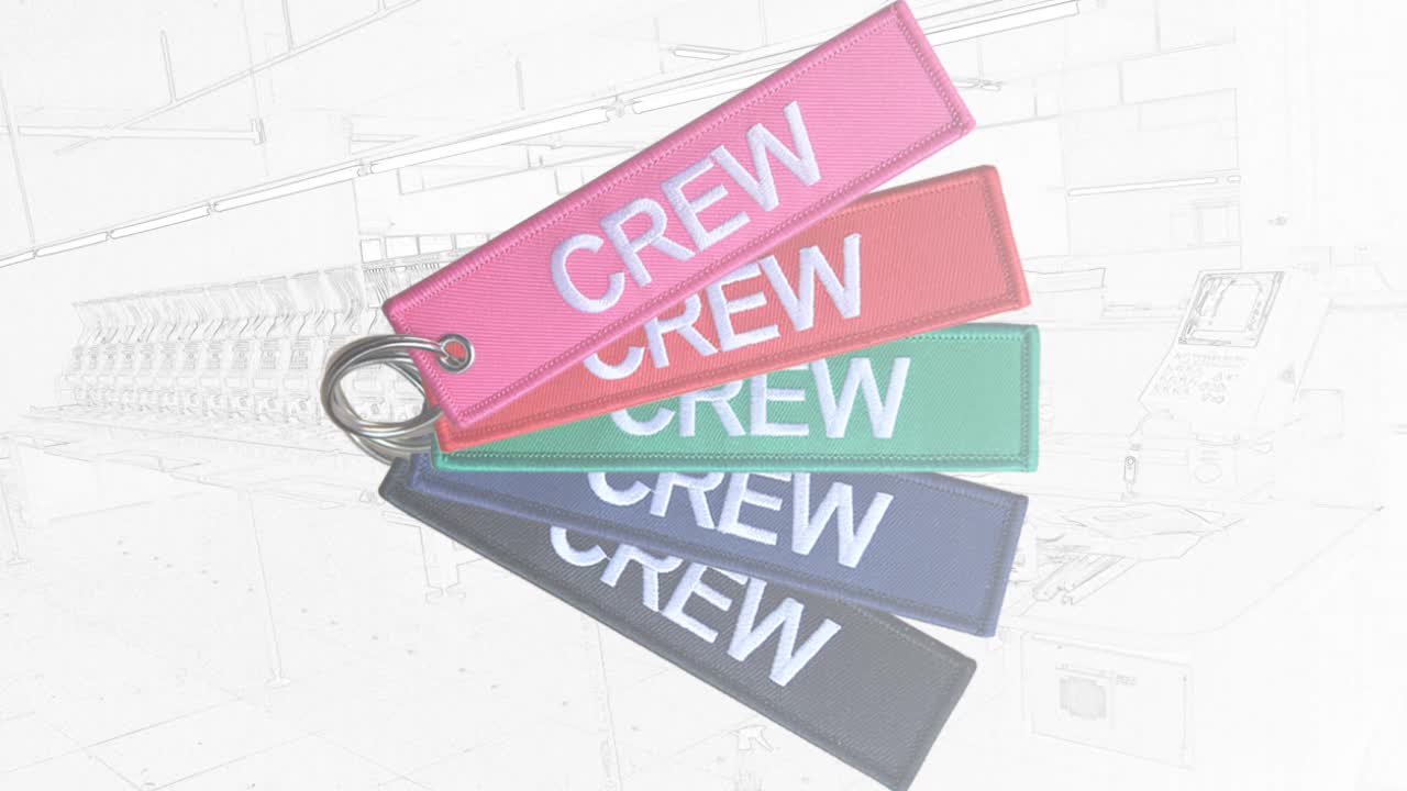 Custom Aviation  Embroidered Pilot Keychain Airplane Pilot Key Tag Custom Embroidered Keychain