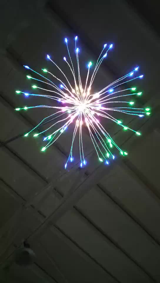 120 LED 8 Modes Dimmable Hanging Starburst Lights CHRISTMAS Firework Copper Fairy String Lights For Room Decoration Outdoor