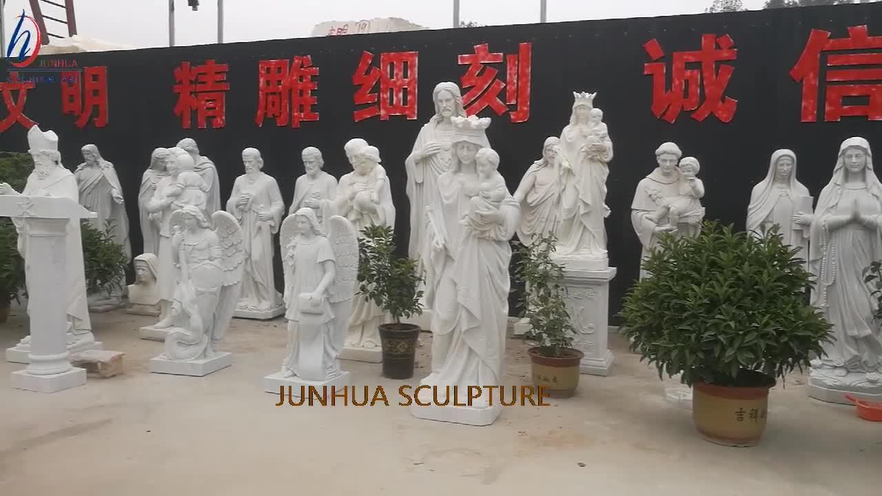 Marble สีขาวทางศาสนา Holy Mother Virgin Mary รูปปั้นพระเยซูและ Angel