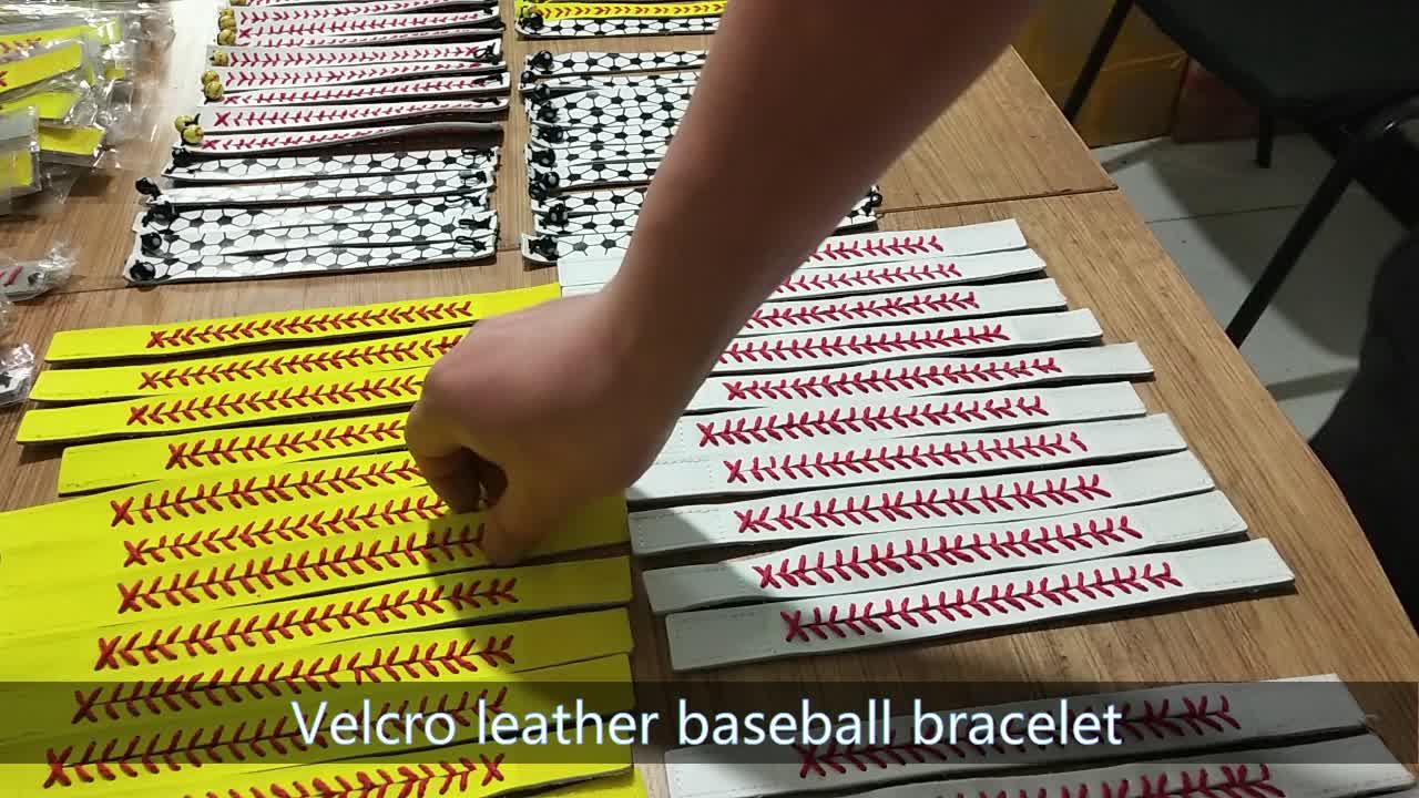 Kulit Keychain 2018 Baru Kedatangan Rainbery Monogrammed Kulit Softball Baseball Keychain Untuk Pria Wanita Tas Liontin Gantungan kunci