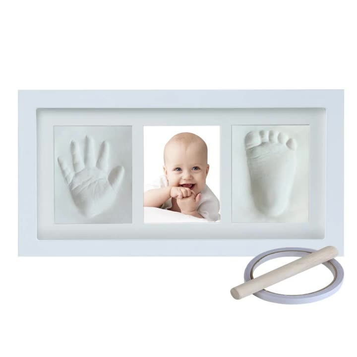 Baby Hand and Footprint Keepsake Non-Toxic Clay Photo Frame Registry Kit for Wall Mount & Desktop Mount Decor, Perfect Shower