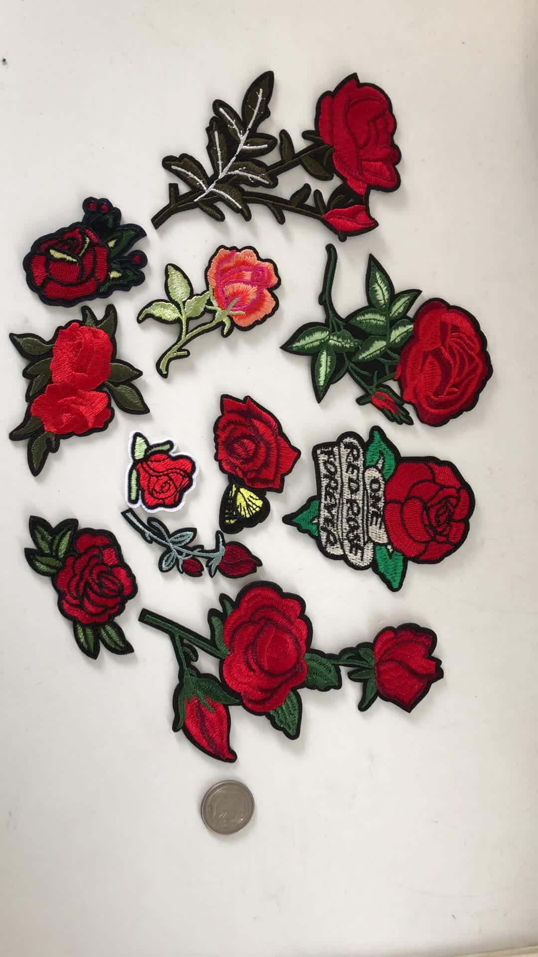 תיקוני רקמת אפליקצית צורת רוז פרח אדום שונים עבור בגדים