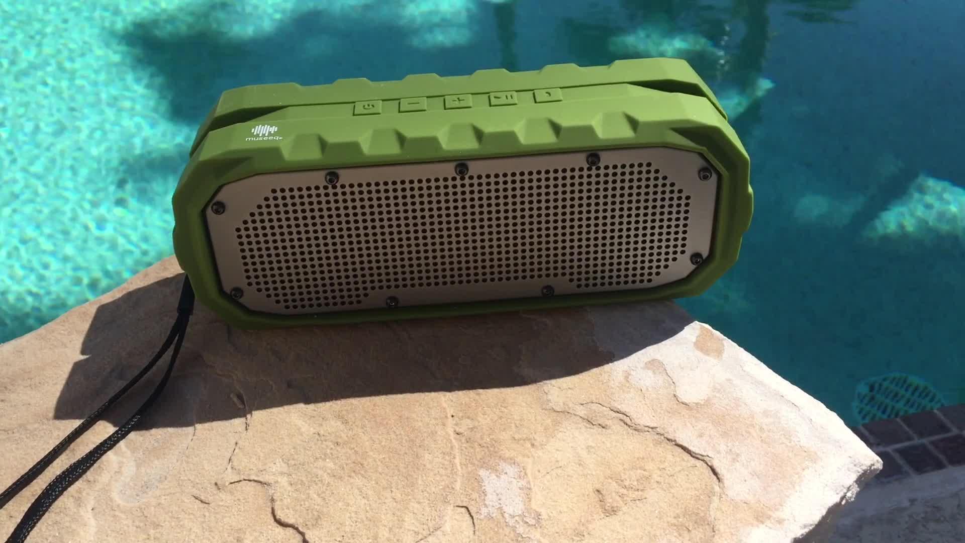 Museeq IPX5 के साथ पोर्टेबल ब्लूटूथ स्पीकर वायरलेस निविड़ अंधकार, Shockproof,Dustproof 3000mAh 6W स्टीरियो ध्वनि शावर वक्ताओं