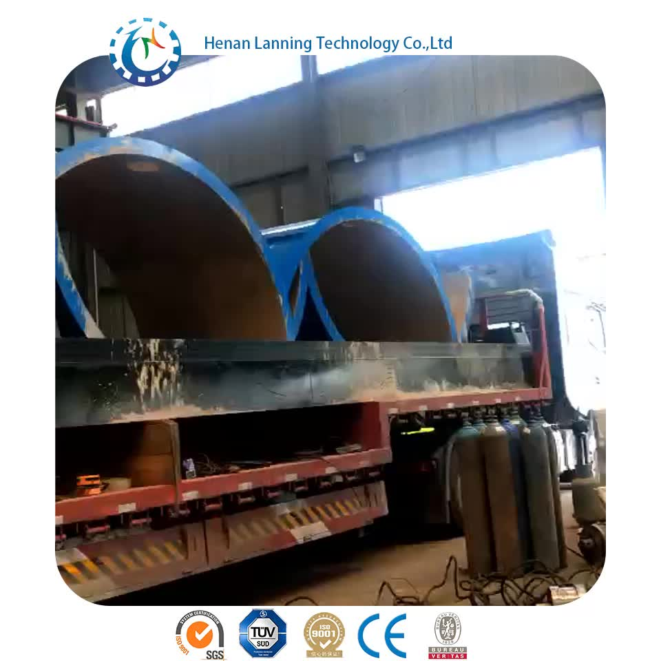 Lanning recycled oil prices scrap rubber tyre to fuel oil pyrolysis machine LN2200-6600 9 tons pyrolysis machine