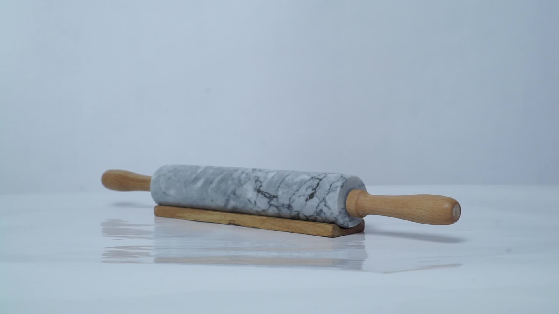 Wholesale Deluxe Dumpling Rolling Pin White Marble Stone Rolling Pin teigroller aus marmor with Wood Handle for Baking