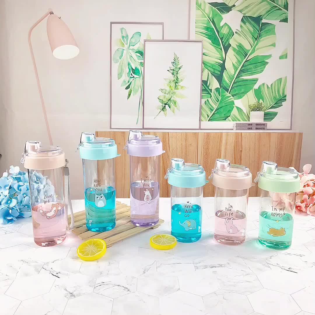 Ao ar livre portátil bonito garrafas de água potável garrafa de plástico para crianças
