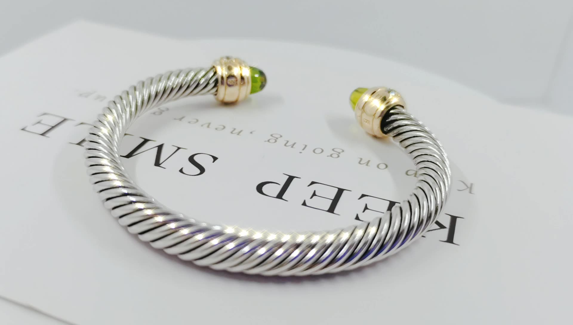 Dubai men bangle sterling silver crystal  twisted lines with pure cz
