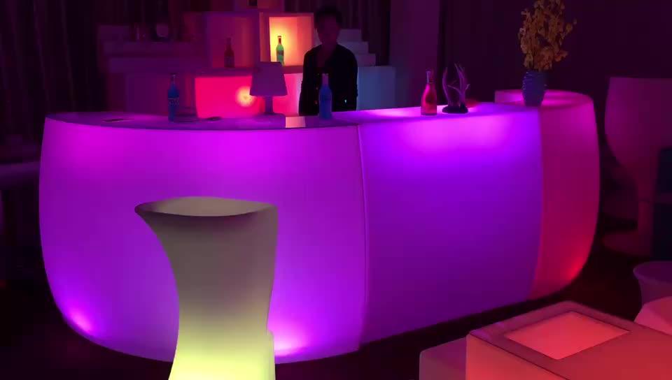 Nuevos productos Mostrador de barra led de plástico, muebles de luz led, iluminación moderna mesa de muebles de luz led