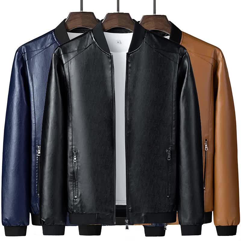 wholesale custom logo design casual mens slim fit plain black long sleeve leather motorcycle 8XL plus size jackets