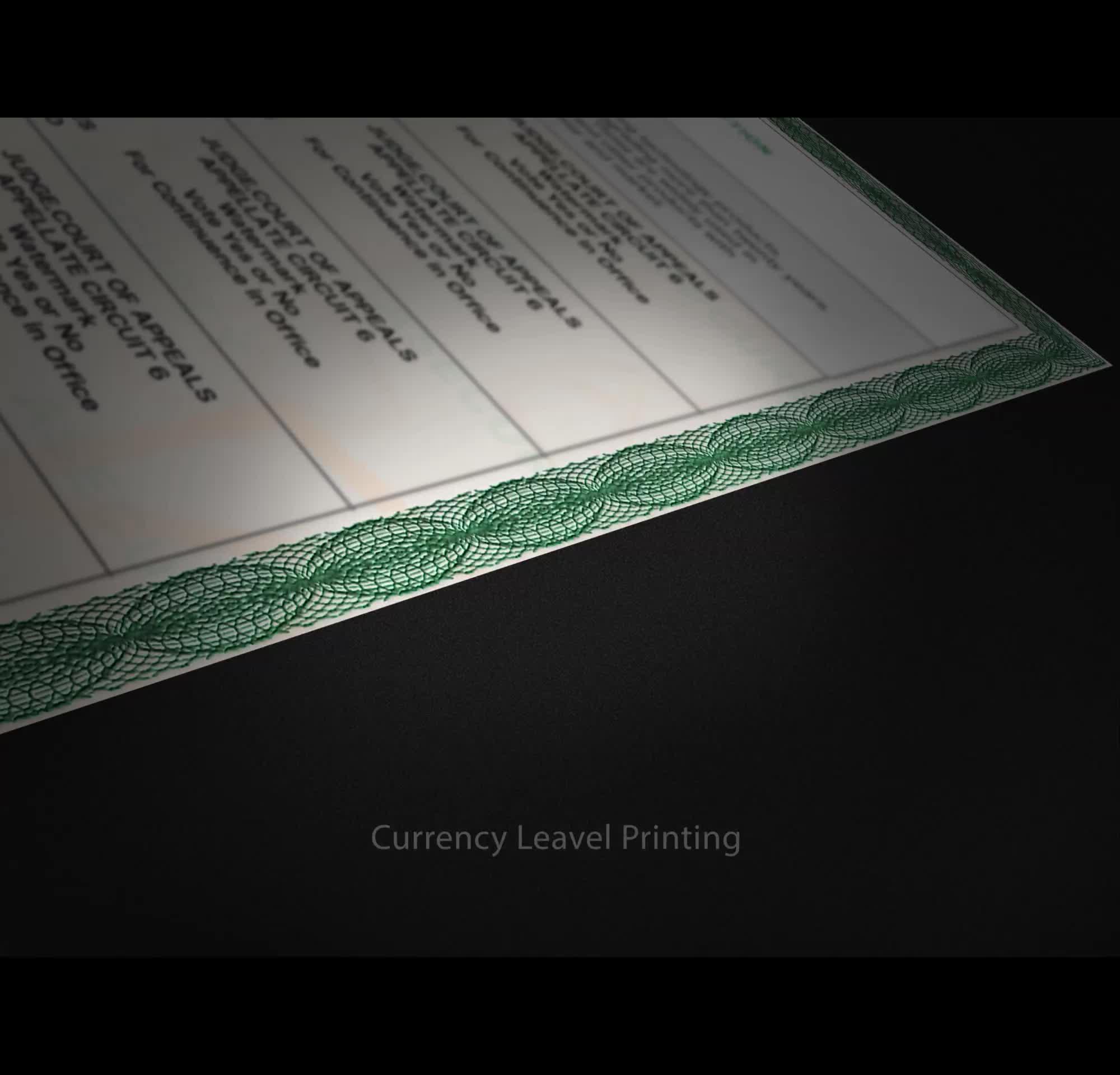 A4 anti-falsificação impressão de certificados com UV invisível