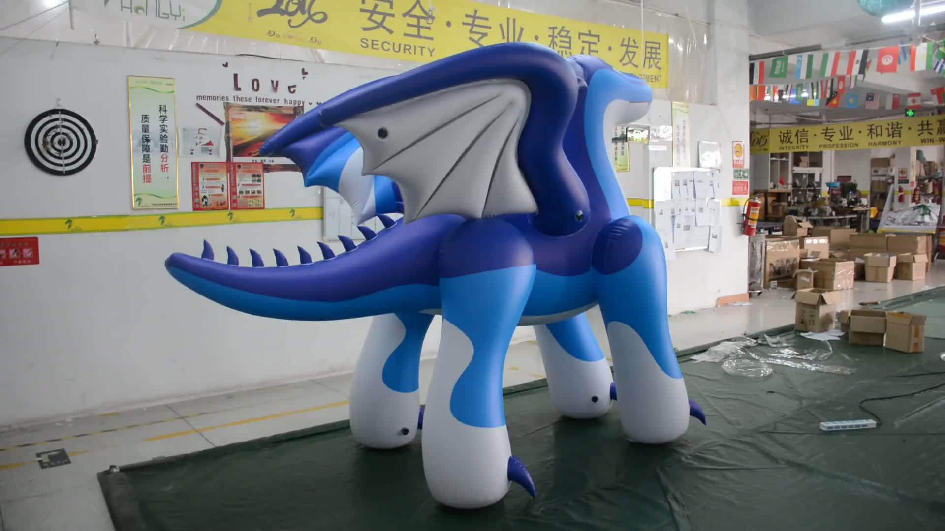High Quality Giant Inflatable Blue Dragon With Wings Sexy Inflatable Flying Dragon For Advertisement