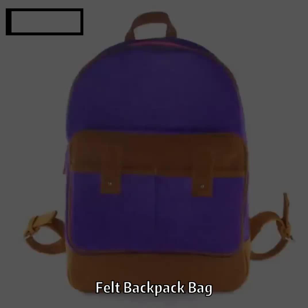 Free sample unisex student casual notebook custom felt backpack