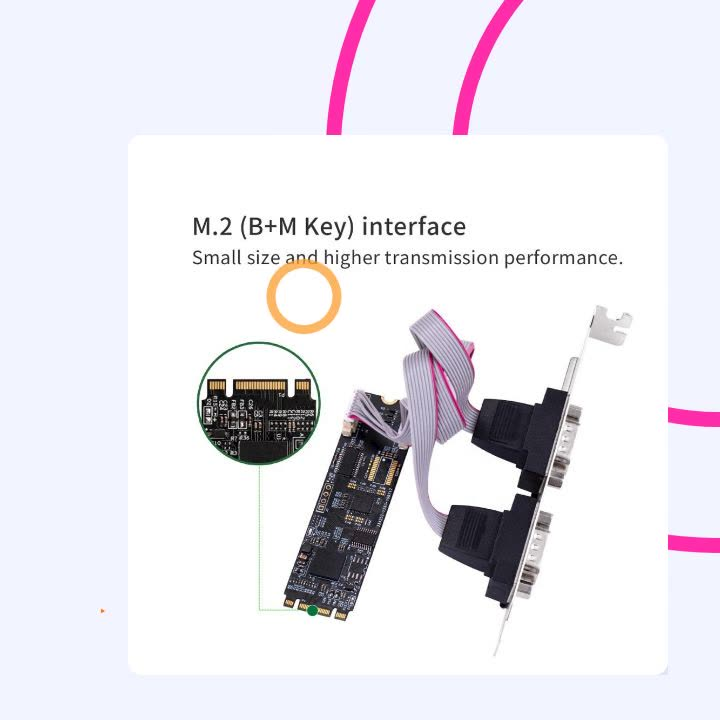 M.2 b key m key to 1 port RS232 and 1 port rs232/422/485 mutil-serial port card