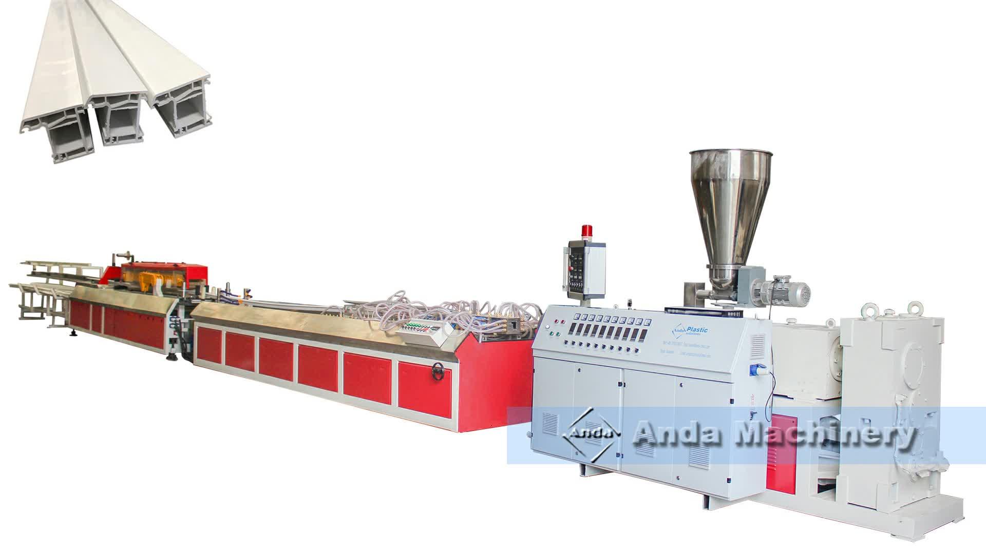 4000-5000 キロ/24 h upvc 窓ドア枠押出ライン/プロファイル製造機メーカーに販売
