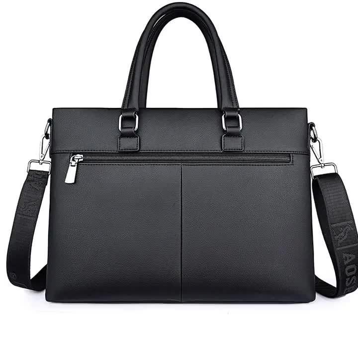 High quality Fashion Business Casual Waterproof PU leather Handbag Shoulder Laptop bag Briefcase for men