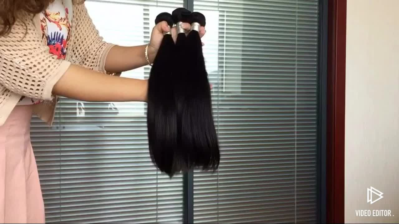 Large Stock Brazilian Virgin Hair Bundles With Closure , Factory Wholesale Price Cuticle Aligned Hair Different Texture