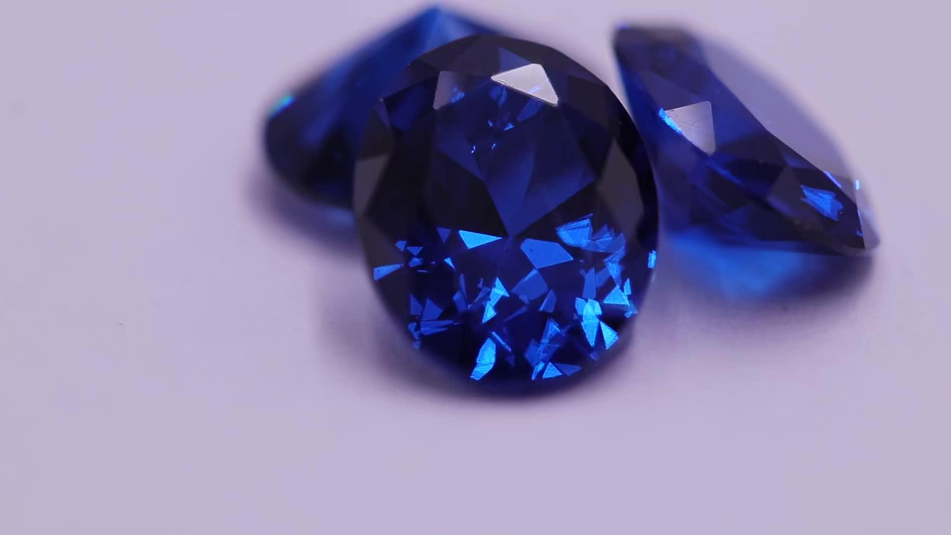 Wholesale Sapphire Blue Zircon Gemstone Oval Cut CZ Stone Synthetic Cubic Zircon Loose Gems