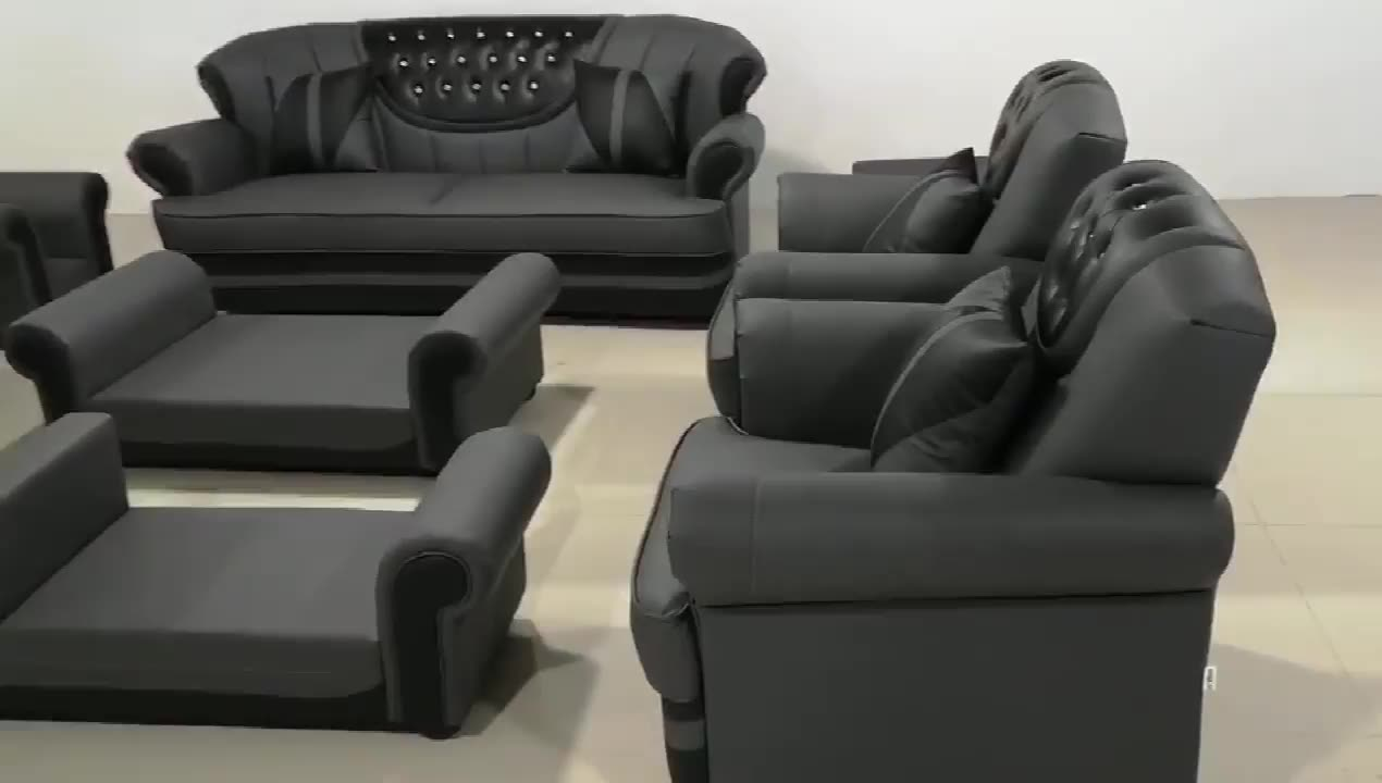 Chinese Top Grain Leather Chesterfield Furniture Sectional Home Living Room Leisure Sofa Set