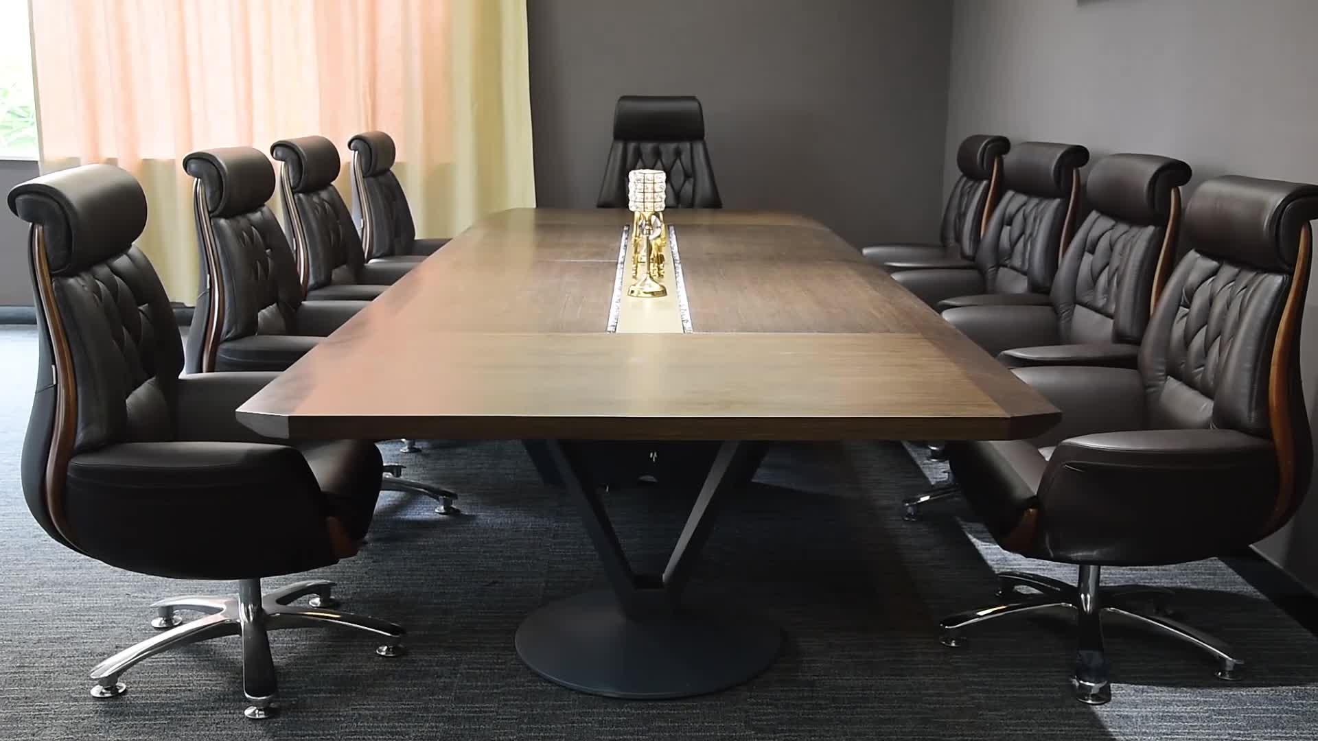 CH01Veneer với bột tráng kim loại chân Hình Chữ Nhật bàn hội nghị bàn