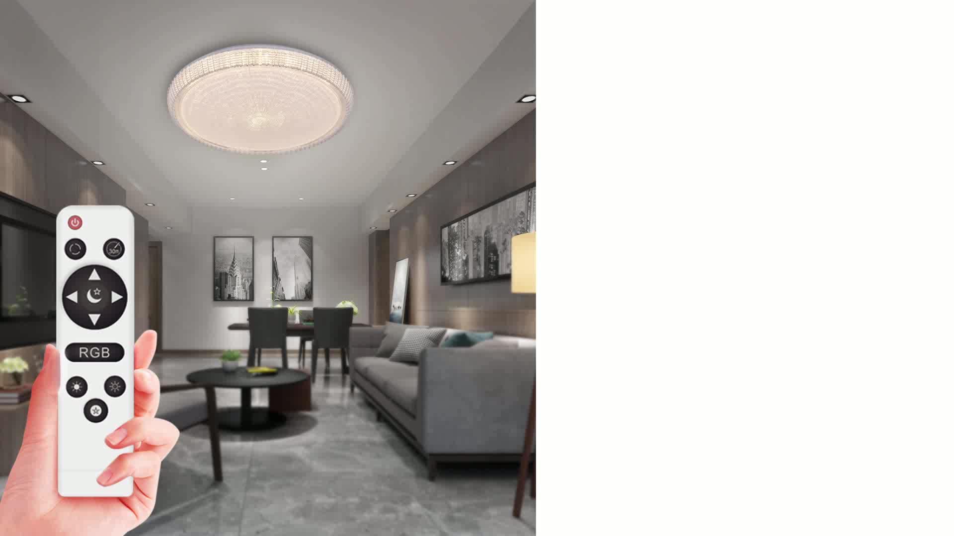 Nieuwe Ontwerp Rgb Ronde Led Plafond Licht Met Afstandsbediening Acryl 48W 220Vvolts Voor Woonkamer Keuken Slaapkamer Kleur veranderende Lamp