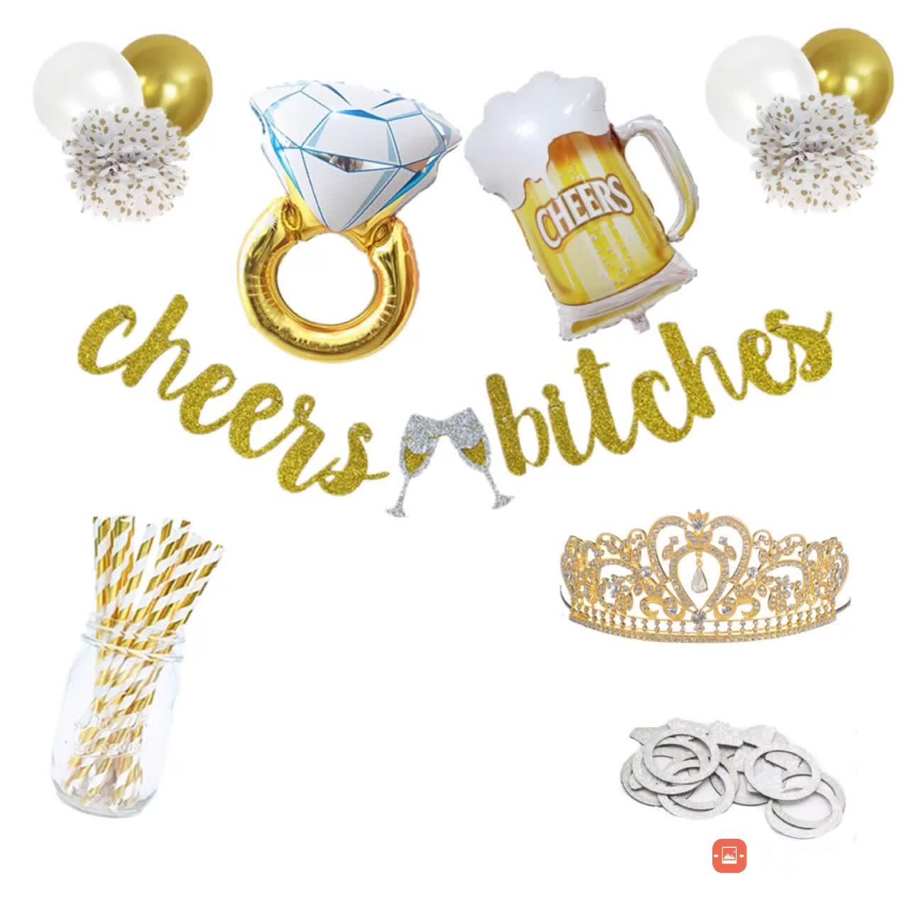 Décorations de Douche de mariée acclamations chiennes bannière or dot papier fleur Decoracion enterrement faveurs