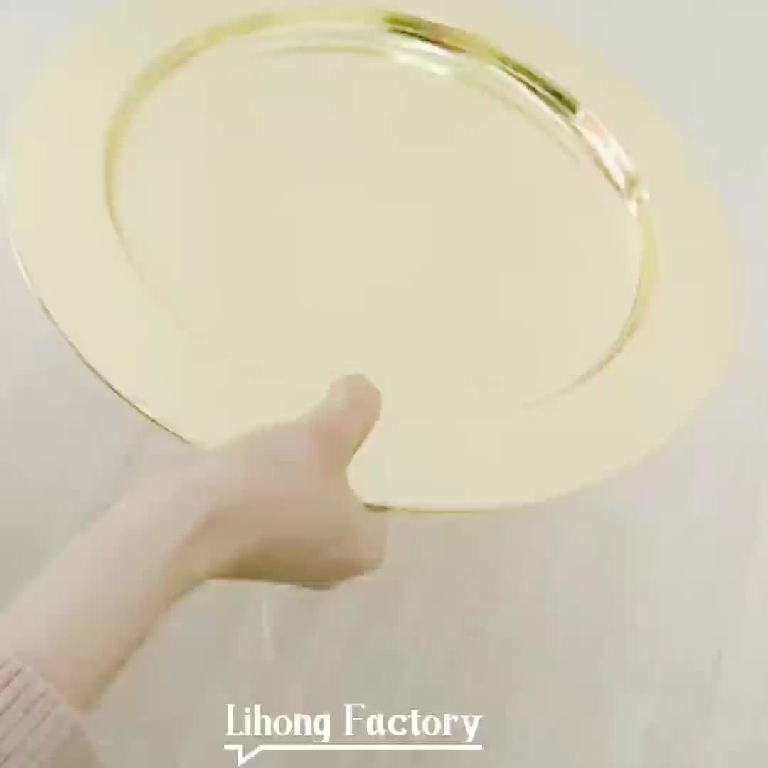 Wedding metal gold rim charger plates wholesale round decorating underplate