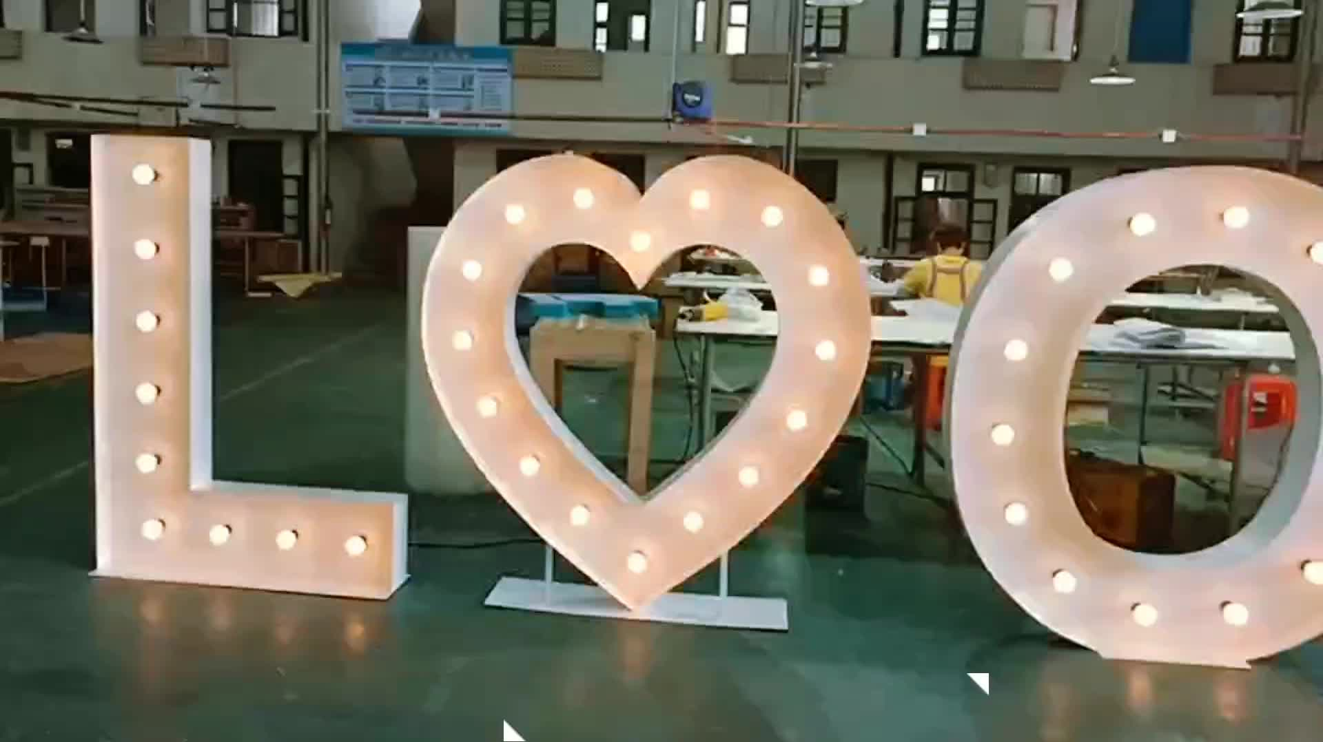 Factory Supply Led Custom Outdoor RGB Advertising Love Led Marquee Signs for Wedding