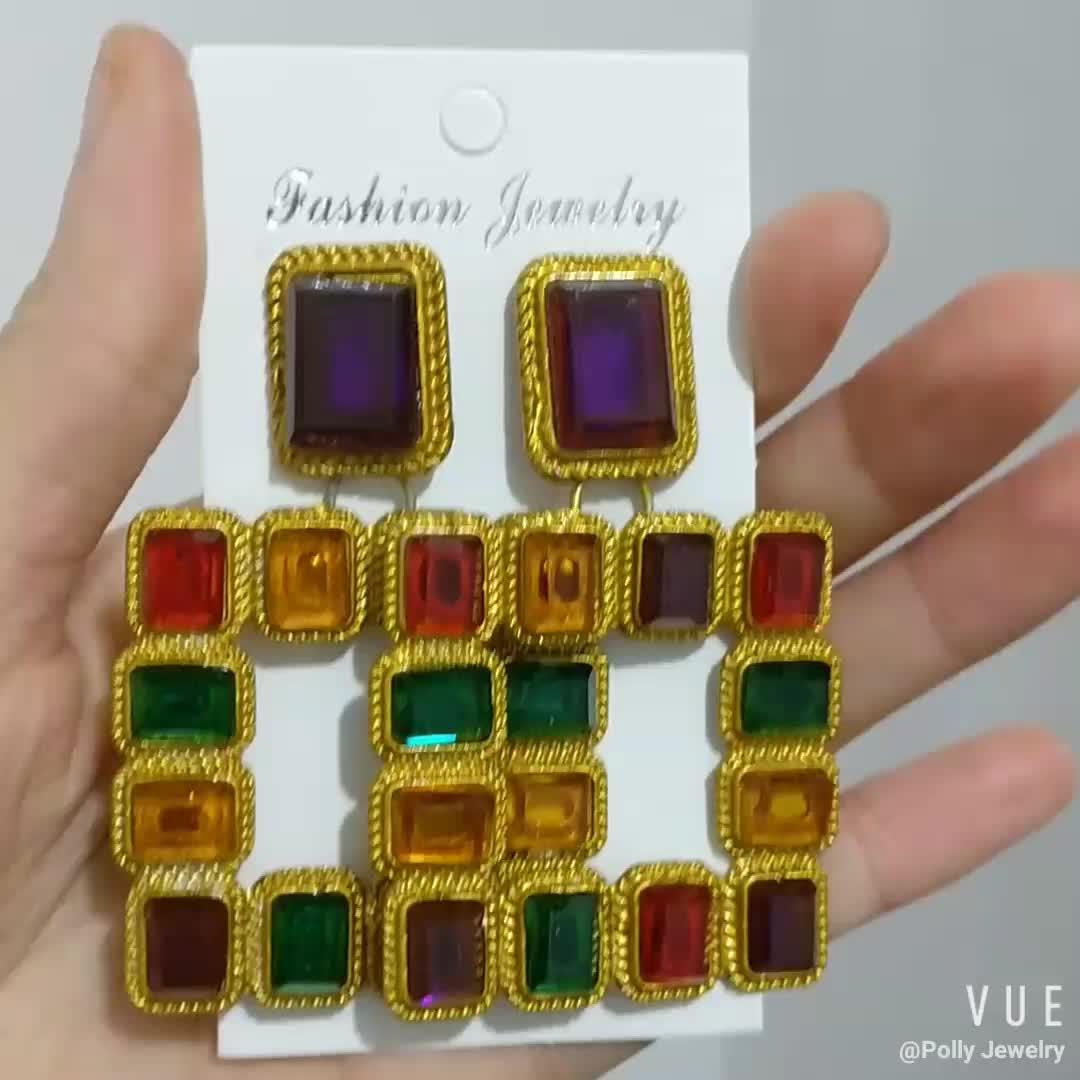 2019 Colorful Acrylic Geometric Drop Earrings Fashion Womens Gold Boho Retro Diamond-inlaid Square Earring