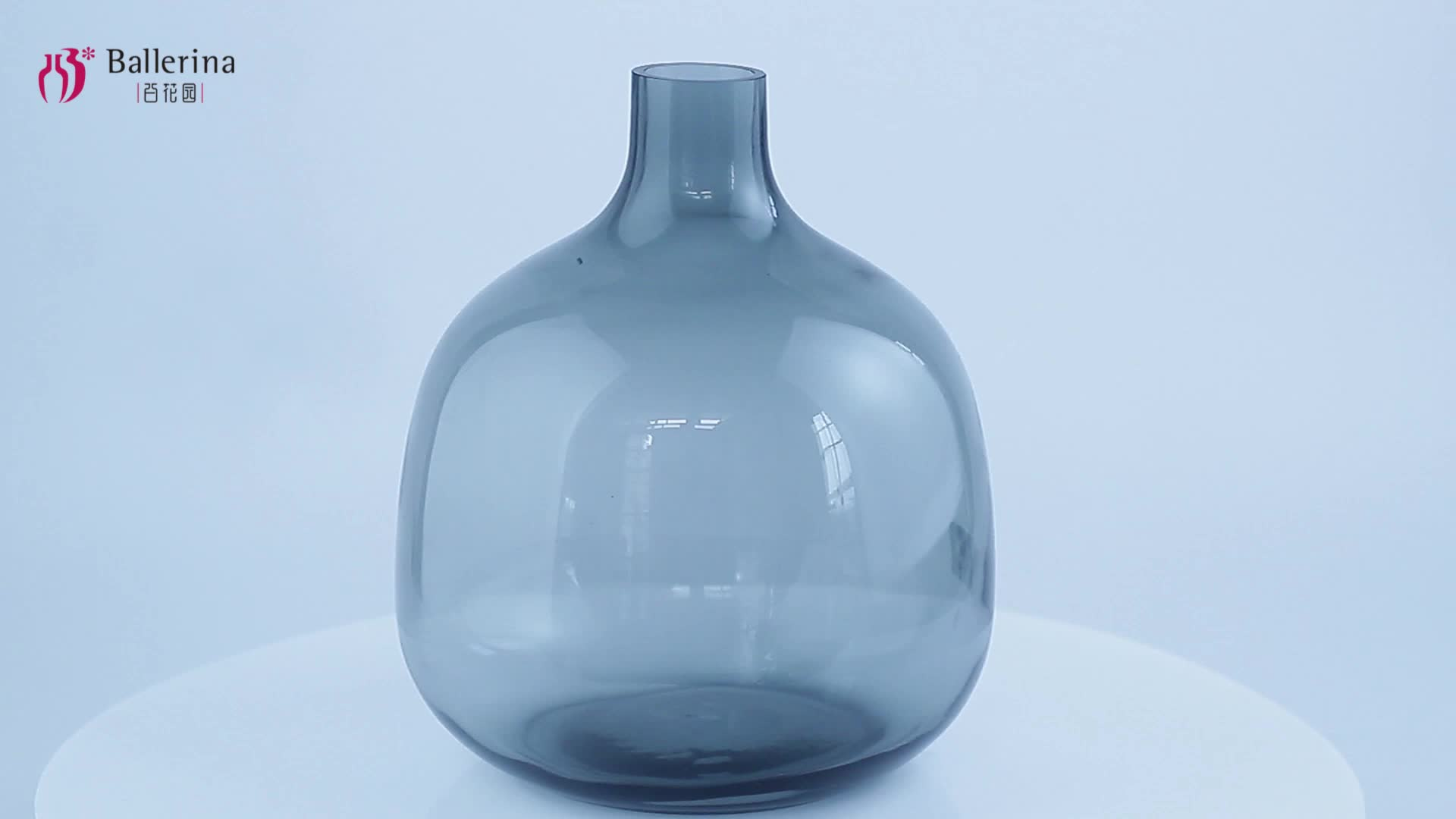 Wholesale Round Shape Mouth Blowing Gray Glass Vase for Home Decor