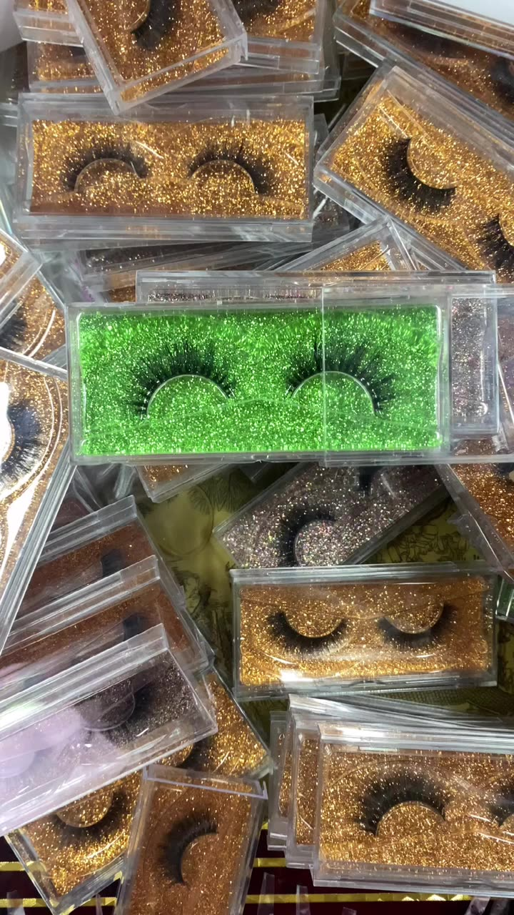 Handmade Faux 3d 5d Wholesale Private Label Strip Real Fluffy Faux Mink Eyelash Vendors with Custom Packaging Box