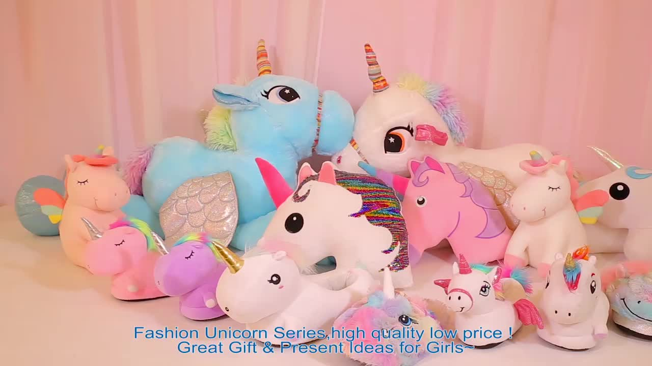 Wholesale Indoor Cozy Plush Home Shoes Novelty Unicorn Women Slipper For Gift