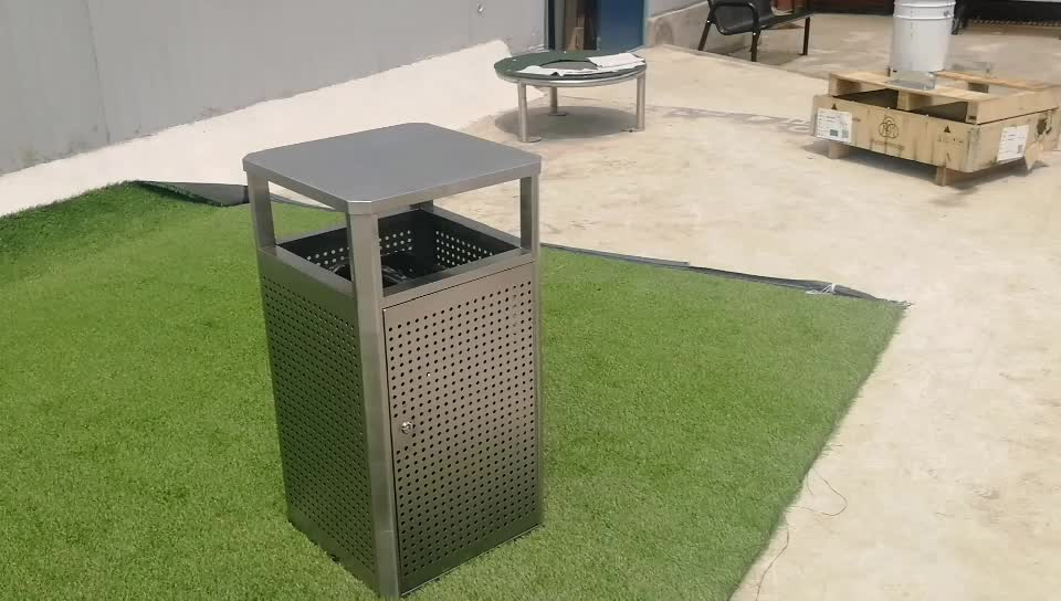 Outdoor recycling bins, stainless steel garbage bin with ashtray