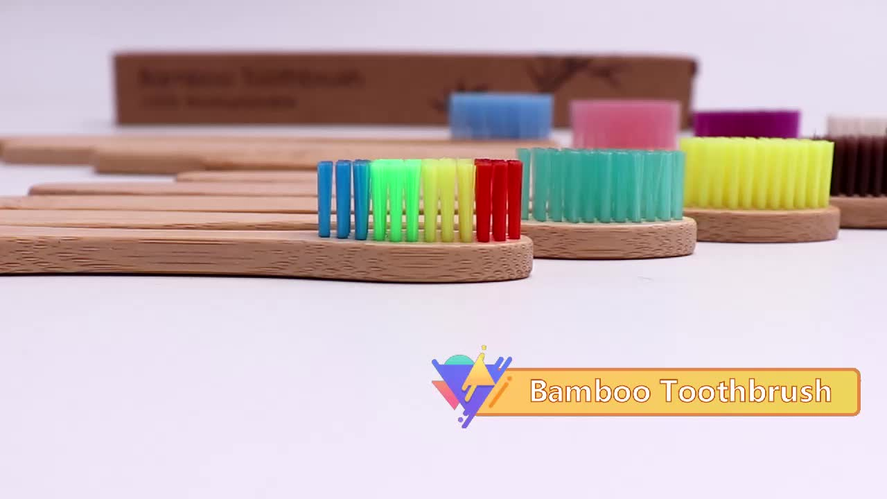 100% Natural Biodegradable Organic Eco Friendly  Bamboo Toothbrush  With Logo