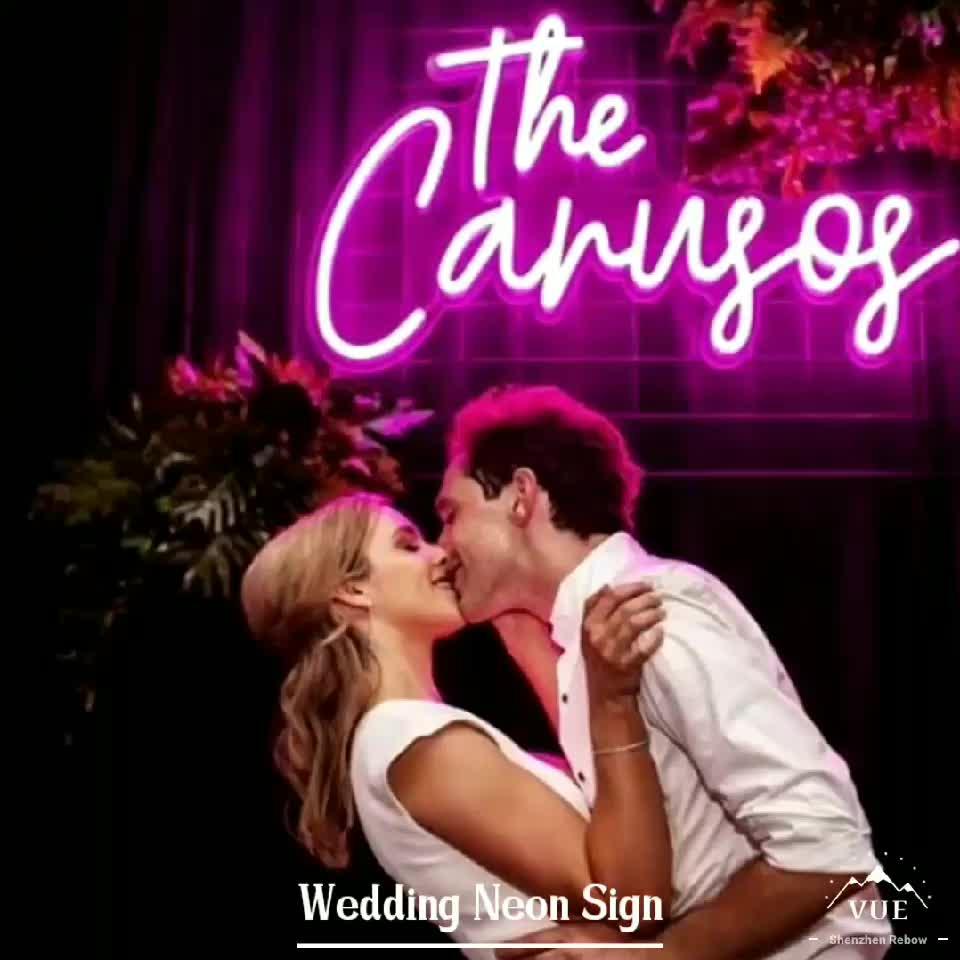 Hot beautiful romantic name custom led neon light sign for wedding decoration