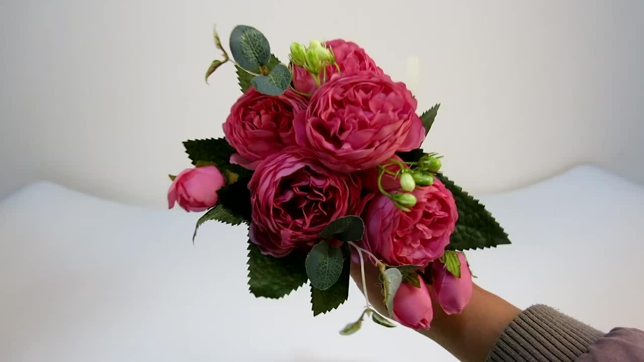 30 سنتيمتر الوردي الحرير الفاوانيا الاصطناعي الزهور باقة 5 رئيس كبير و 4 برعم زهرة رخيصة ل ديكورات منزلية لحفل الزفاف داخلي