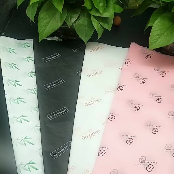 custom white logo black wrapping gift silk cotton tissue paper for clothes packaging