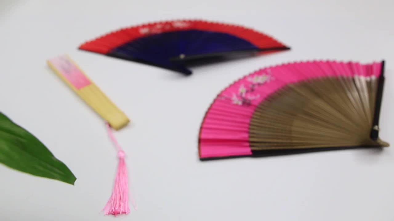 Personalizado promocional Impresso Papel De Bambu Fan Folding Mão