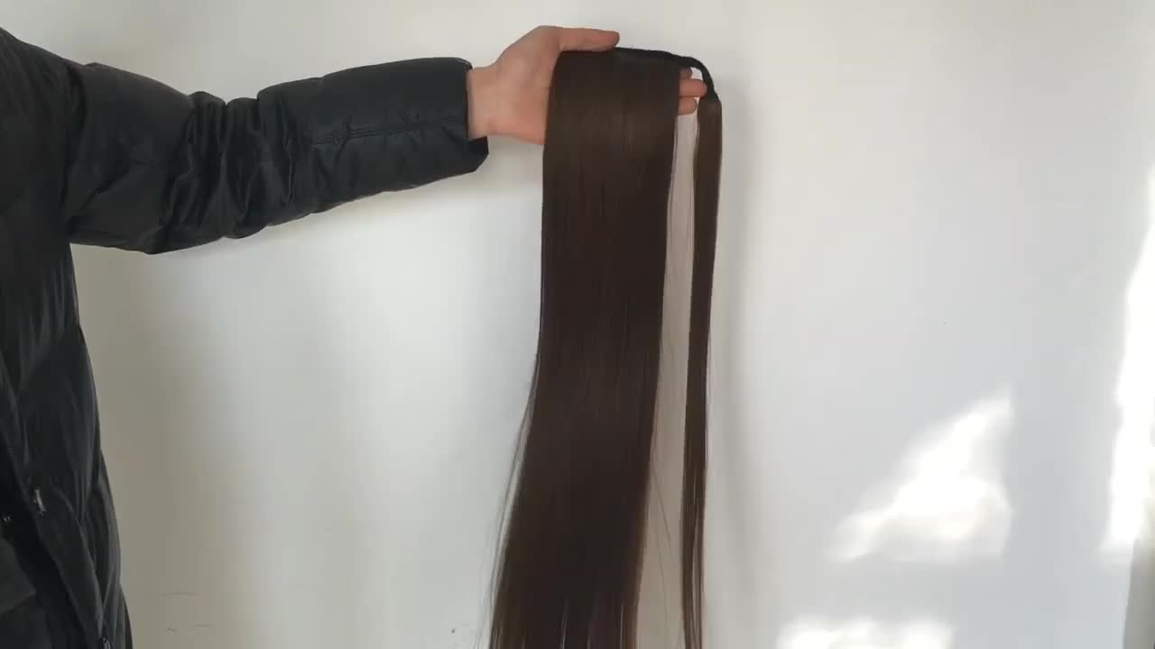 Megalook Hair Wavy Ponytail Extension for Women Wrap Around Magic Paste Yaki Ponytail Clip in Hairpieces
