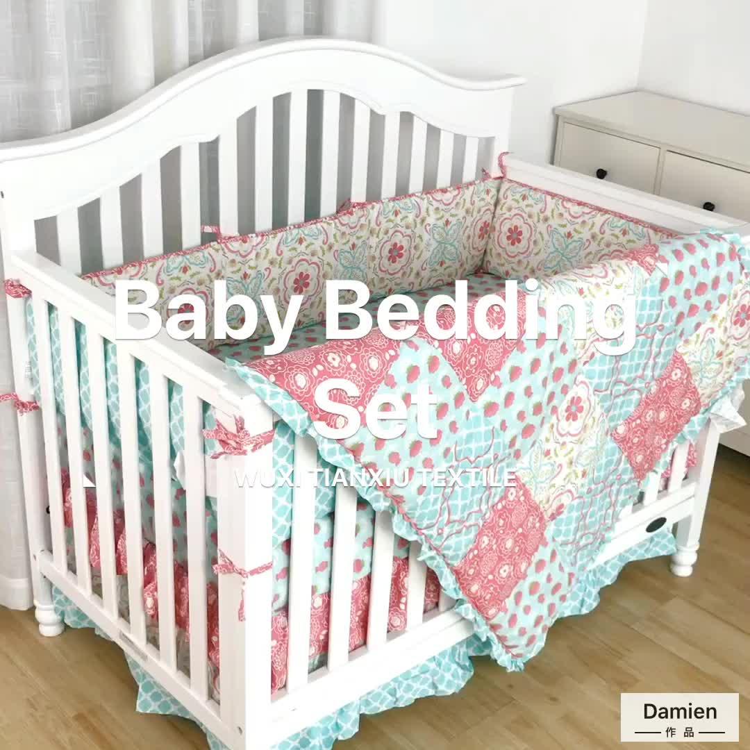 100% Cotton sateen flower printed newborn baby luxury bedding set for baby crib
